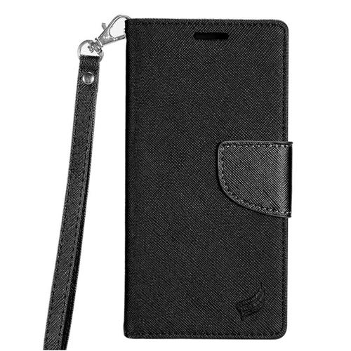 Insten Book-Style Leather Fabric Case Lanyard w/stand/card slot For Samsung Galaxy S8 - Black
