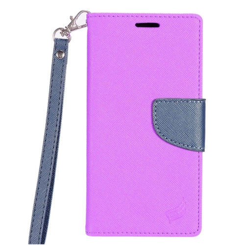 Insten Flip Leather Fabric Cover Case Lanyard w/stand/card slot For Samsung Galaxy S8 - Purple/Blue