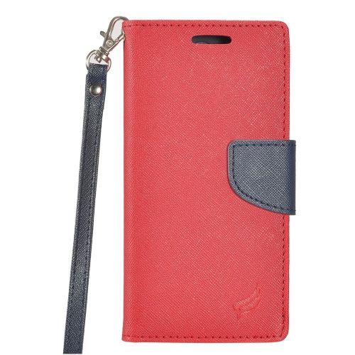 Insten Flip Leather Fabric Cover Case Lanyard w/stand/card holder For Samsung Galaxy S8 - Red/Blue