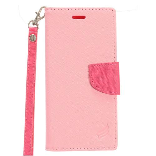 Insten Folio Leather Fabric Case Lanyard w/stand/card holder For Samsung Galaxy S8, Pink/Hot Pink