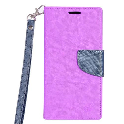 Insten Folio Leather Fabric Case Lanyard w/stand/card slot For Samsung Galaxy S8 Plus, Purple/Blue