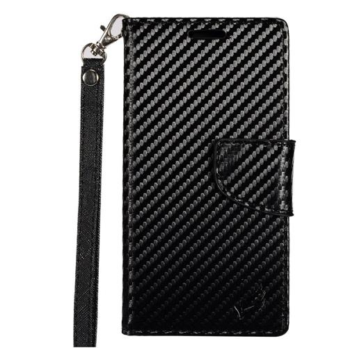 Insten Carbon Fiber Folio Case Lanyard w/stand/card holder For Samsung Galaxy S8 Plus, Black