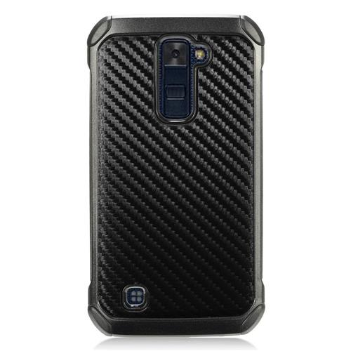 Insten Carbon Fiber Hard Hybrid TPU Case For LG K10 (2016) - Black