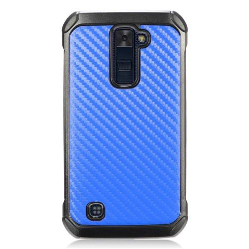 Insten Carbon Fiber Hard Dual Layer TPU Case For LG K10 (2016) - Blue/Black