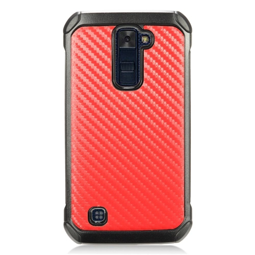 Insten Carbon Fiber Hard Hybrid TPU Case For LG K10 (2016) - Red/Black