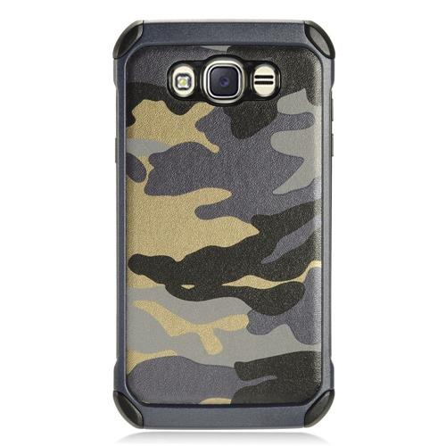 Insten Camouflage Hard Hybrid TPU Case For Samsung Galaxy J7 (2016) - Gray/Black