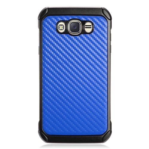 Insten Carbon Fiber Hard Hybrid TPU Cover Case For Samsung Galaxy J7 (2016) - Blue/Black