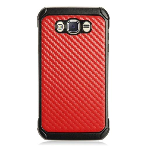 Insten Carbon Fiber Hard Hybrid TPU Cover Case For Samsung Galaxy J7 (2016) - Red/Black
