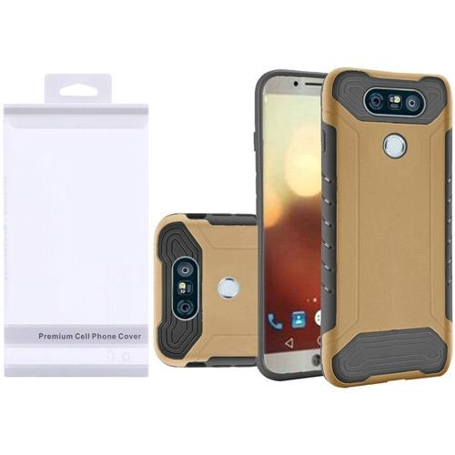 Insten Hard Dual Layer Rubber Silicone Cover Case For LG G6 - Gold/Black