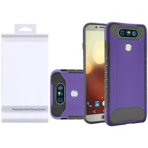 Insten Hard Dual Layer Rubberized Silicone Cover Case For LG G6 - Purple/Black