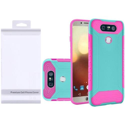 Insten Hard Hybrid Rubber Coated Silicone Cover Case For LG G6 - Teal/Hot Pink