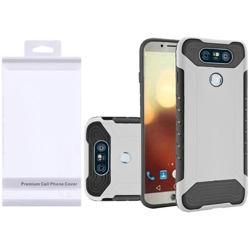 Insten Hard Hybrid Rubber Silicone Case For LG G6 - White/Black