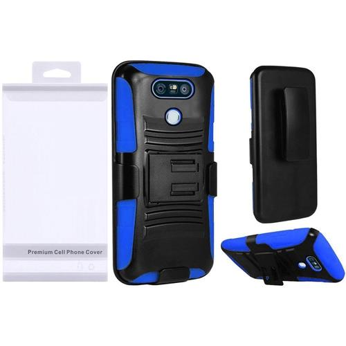 Insten Hard Dual Layer Plastic Silicone Case w/Holster For LG G6 - Black/Blue