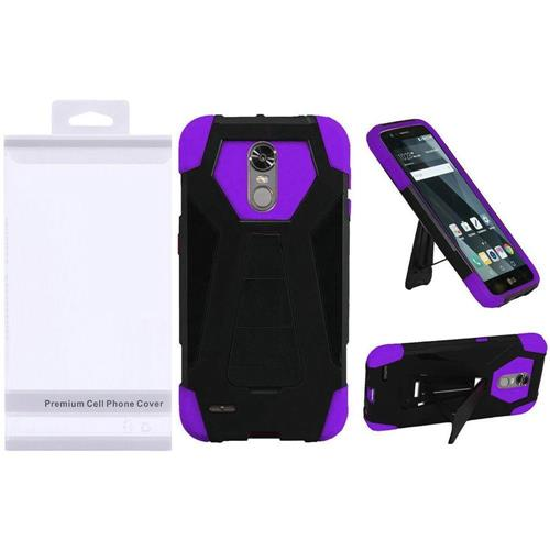 Insten Hard Dual Layer Plastic Silicone Case w/stand For LG Stylo 3/Stylo 3 Plus - Black/Purple
