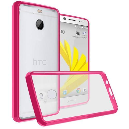 Insten Hard Crystal TPU Case For HTC Bolt - Clear/Hot Pink