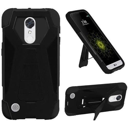 Insten Hard Hybrid Plastic Silicone Case w/stand For LG Grace 4G/Harmony/K20 Plus/K20 V, Black