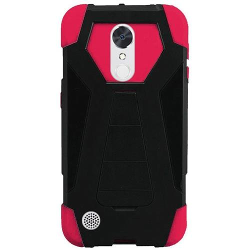 Insten Hard Plastic Silicone Case w/stand For LG Grace 4G/Harmony/K20 Plus/K20 V, Black/Hot Pink