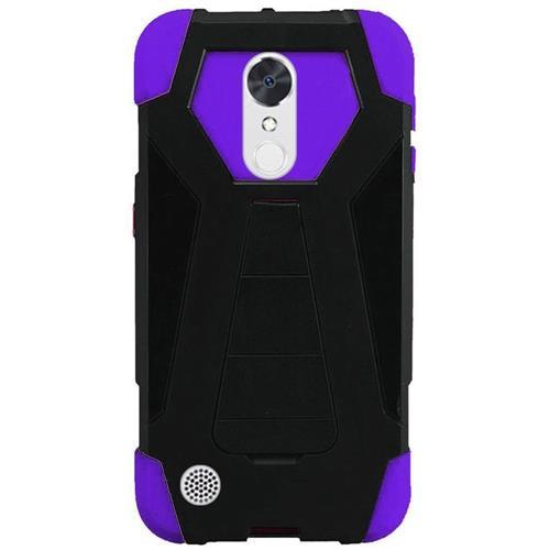 Insten Hard Plastic Silicone Case w/stand For LG Grace 4G/Harmony/K20 Plus/K20 V, Black/Purple