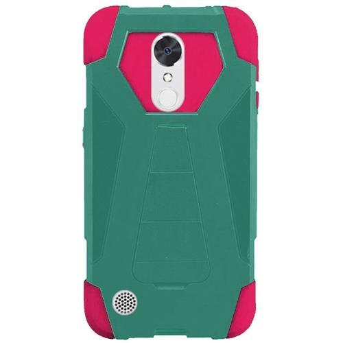 Insten Hard Hybrid Plastic Silicone Cover Case w/stand For LG K20 Plus/K20 V/V5 - Teal/Hot Pink
