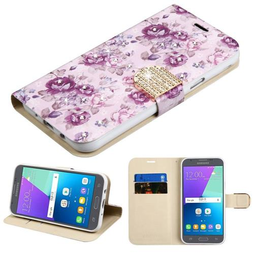 Insten Flowers Folio Case w/stand For Samsung Galaxy Express Prime 2/J3 (2017), Purple/White