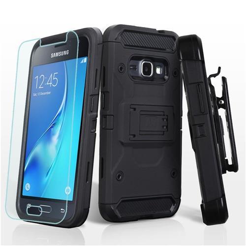 Insten Hard Hybrid TPU Case w/Holster/Installed For Samsung Galaxy Amp 2/Express 3/J1 (2016) - Black