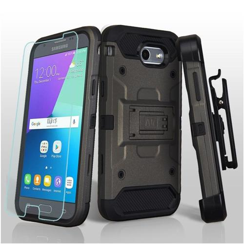 Insten Hybrid TPU Case w/Holster/Installed For Samsung Galaxy Express Prime 2/J3 (2017), Gray/Black