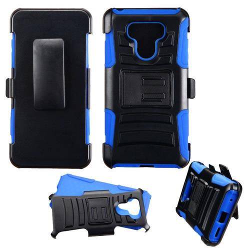Insten Hard Dual Layer Plastic Silicone Cover Case w/Holster For LG G6 - Black/Blue