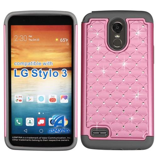 Insten Hard Dual Layer Rubber Silicone Case w/Diamond For LG Stylo 3 - Pink/Gray