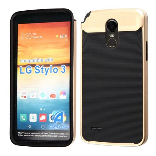 Insten Hard Dual Layer TPU Case For LG Stylo 3 - Black/Gold