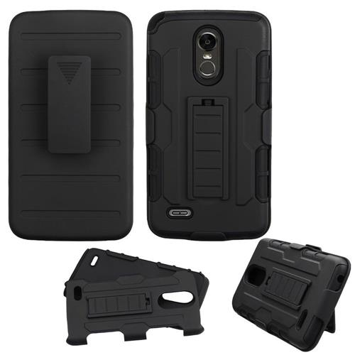 Insten Hard Dual Layer Plastic Silicone Cover Case w/Holster For LG Stylo 3 - Black