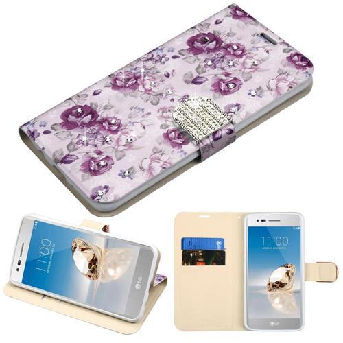 Insten For LG Aristo/Fortune/K8 (2017)/LV3/Phoenix 3 Diamante Wallet Case Fresh Purple
