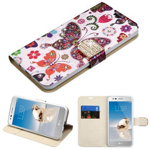 Insten Butterfly Wonderland Flip Leather Case For LG Aristo/Fortune/K8 (2017)/LV3/Phoenix 3, Purple