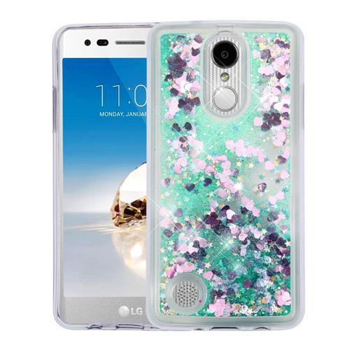 Insten Quicksand Hearts Hard Glitter TPU Cover Case For LG Aristo/K8 (2017)/LV3 - Green