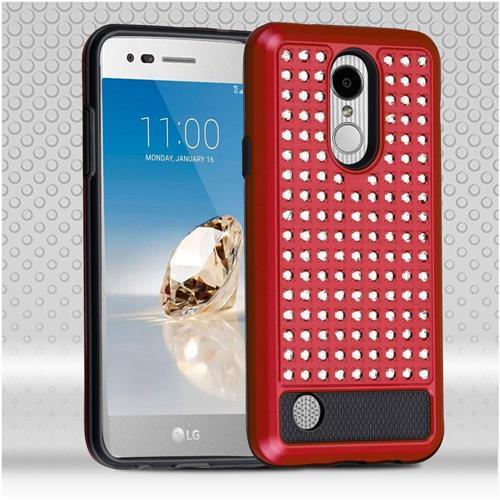 Insten Hard Hybrid Silicone Case w/Diamond For LG Aristo/Fortune/K8 (2017)/LV3/Phoenix 3, Red/Black