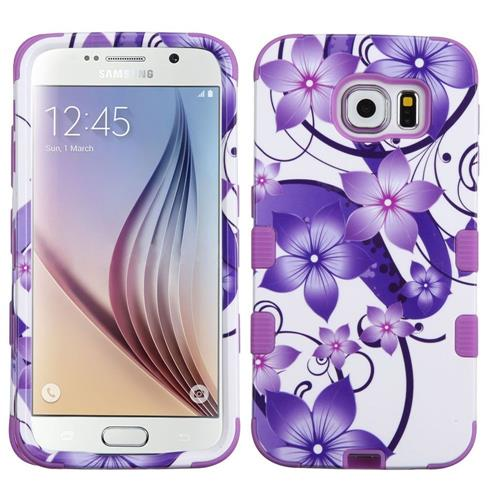 Insten Hibiscus Flower Romance Hard Hybrid Rubber Silicone Case For Samsung Galaxy S6, Purple/White