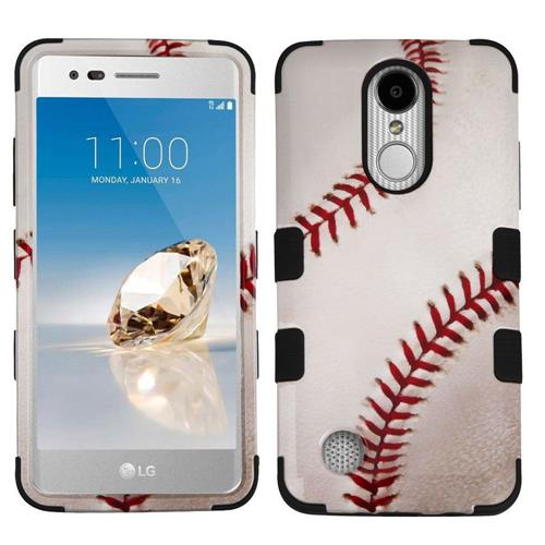 Insten Tuff Baseball Hard Dual Layer Rubber Silicone Cover Case For LG Aristo/LV3 - Brown/White