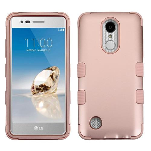 Insten Tuff Hard Dual Layer Rubber Coated Silicone Case For LG Aristo/LV3 - Rose Gold