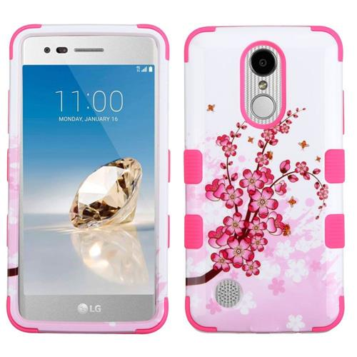 Insten Tuff Spring Flowers Hard Dual Layer Rubberized Silicone Case For LG Aristo/LV3 - Pink/White
