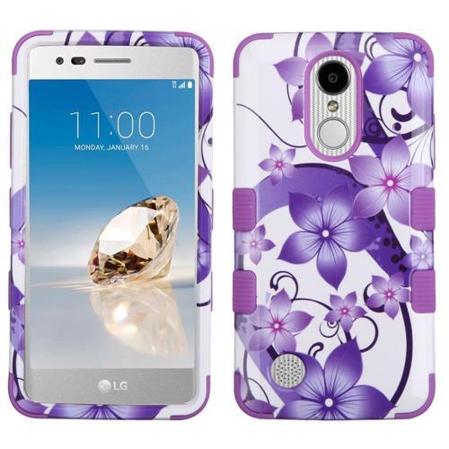 Insten Tuff Hibiscus Flower Romance Hard Hybrid Silicone Case For LG Aristo/LV3 - Purple/White