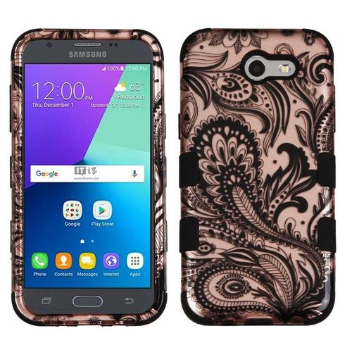 Insten Phoenix Flower Hard Hybrid Rubber Silicone Case For Samsung Galaxy J3 (2017), Rose Gold/Black