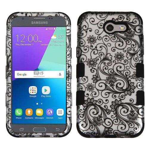 Insten Four-leaf Clover Hard Hybrid Rubber Silicone Cover Case For Samsung Galaxy J3 (2017), Black