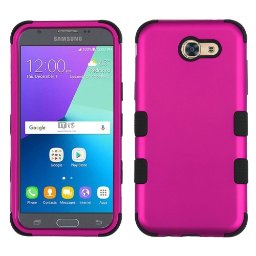 Insten Tuff Hard Dual Layer Rubberized Silicone Case For Samsung Galaxy J3 (2017) - Hot Pink/Black