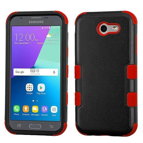 Insten Tuff Hard Dual Layer Silicone Cover Case For Samsung Galaxy J3 (2017) - Black/Red