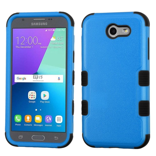 Insten Tuff Hard Dual Layer Rubberized Silicone Cover Case For Samsung Galaxy J3 (2017) - Blue/Black