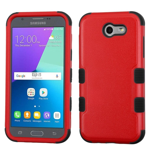 Insten Tuff Hard Dual Layer Rubber Silicone Case For Samsung Galaxy J3 (2017) - Red/Black