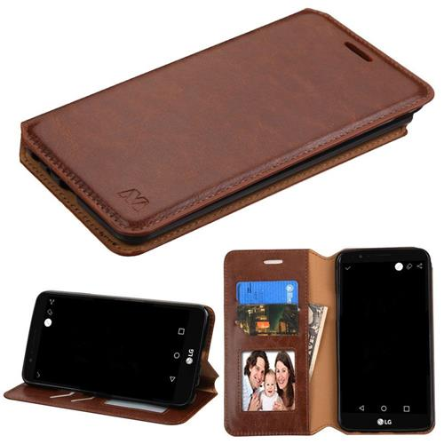 Insten Folio Leather Fabric Cover Case w/stand/card slot/Photo Display For LG Stylo 3 - Brown