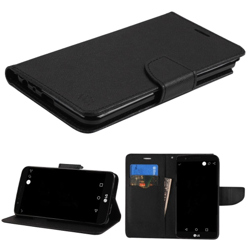 Insten Folio Leather Fabric Case w/stand/card slot For LG Stylo 3 - Black