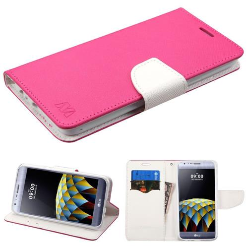 Insten Folio Leather Fabric Cover Case w/stand/card holder For LG X Cam - Hot Pink/White