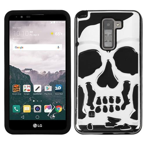 Insten Skullcap Hard Dual Layer Rubberized Silicone Case For LG Stylo 2 Plus - Silver/Black