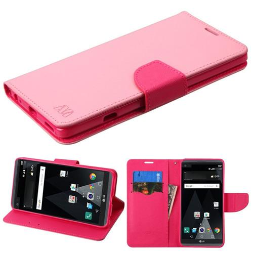 Insten Flip Leather Fabric Cover Case w/stand/card slot For LG V20 - Pink